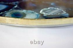 Blue Agate Lazy Susan Counter Top Turntable Centerpiece For Home Decor