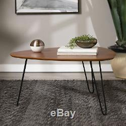 Bohemian Coffee Table Triangle Wood Top Metal Leg Living Room Accent Centerpiece