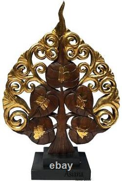 Carved Wood Tree Statue Home Decor Statue. Centerpiece Accent Table Gold/Brown