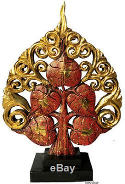 Carved Wood Tree Statue Home Decor Statue. Centerpiece Accent Table Gold and Red
