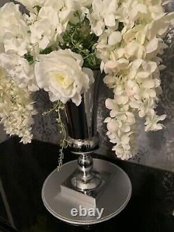 Center piece table Artificial White Flowers With Silver Vase Large Deco
