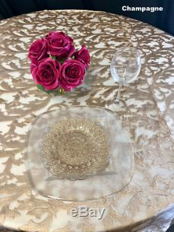 Champagne Lace Tablecloth or Table Overlay Wedding Sweetheart Table Home Decor