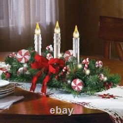 Christmas Candles Tabletop Centerpiece Decoration Xmas Lighted Table Ornaments