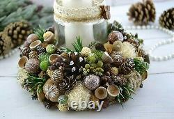 Christmas Centerpiece Decoration Candle Holder Table Home Decor Holiday Winter W