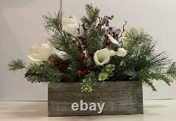 Christmas Magnolia Table Centerpiece, Flocked Red Berries And Magnolia Decor