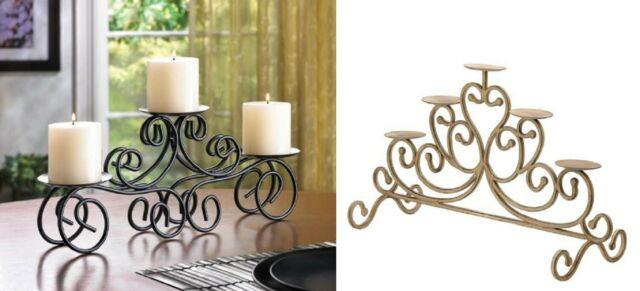 Coffee Table Centerpiece Fireplace Mantle Decor Dining 3arm Candle Holder Black
