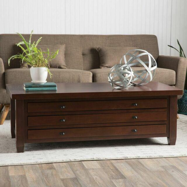 Coffee Table Centerpiece With Storage Drawers Living Room Decor Solid Wood 51 In