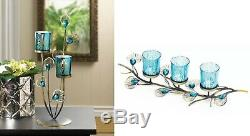 Coffee Table Centerpieces Dining Fireplace Mantle Decor Candle Holder Peacock