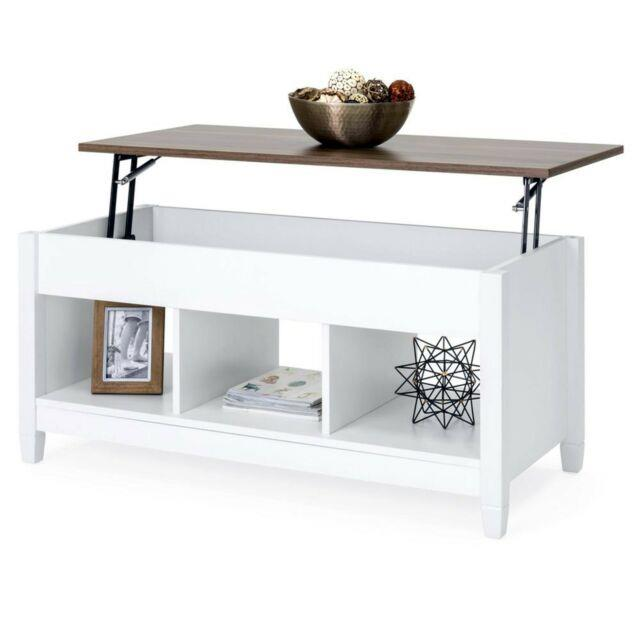Coffee Table White Brown Work Desk Shelves Center Piece Storage Lift Tabletop