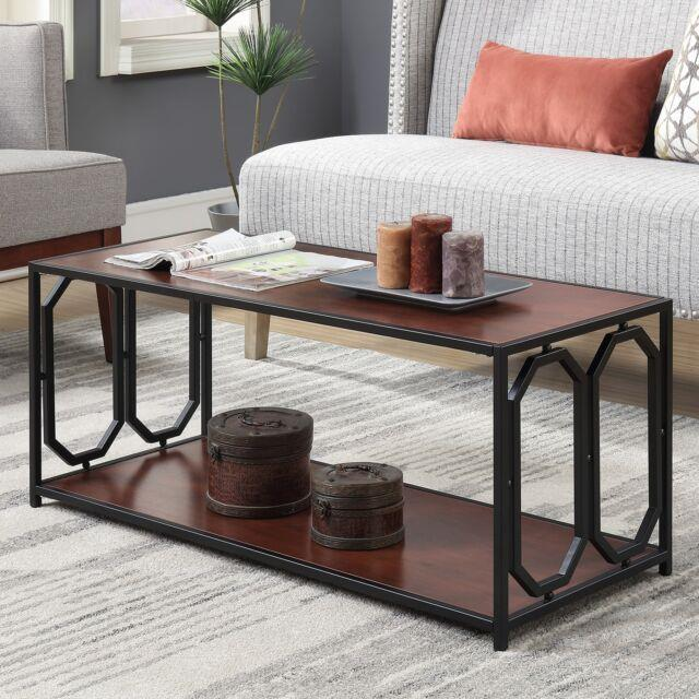 Contemporary Cocktail Coffee Table Wood Top Metal Frame Living Room Center Piece