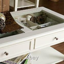 Contemporary Glass Top Cocktail Table with 2-Drawers Living Room Centerpiece White