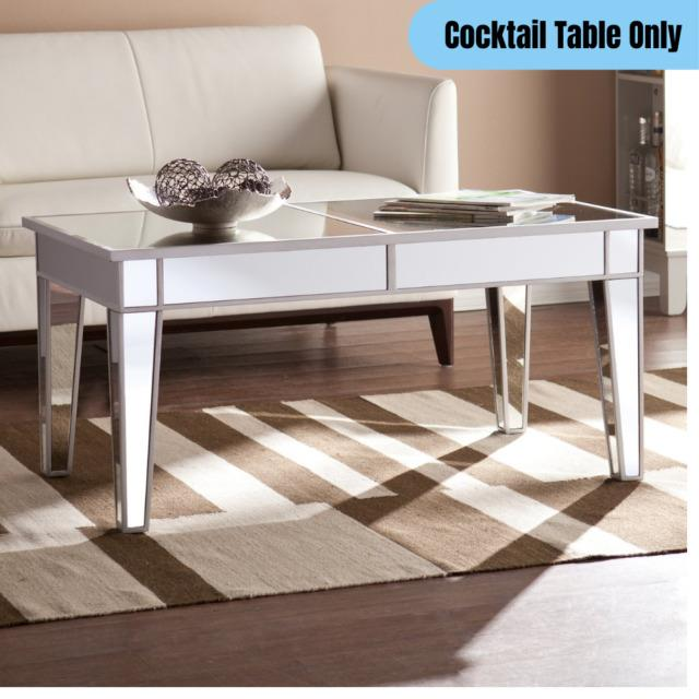 Contemporary Mirrored Cocktail Table Glam Chic Elegant Home Office Centerpiece