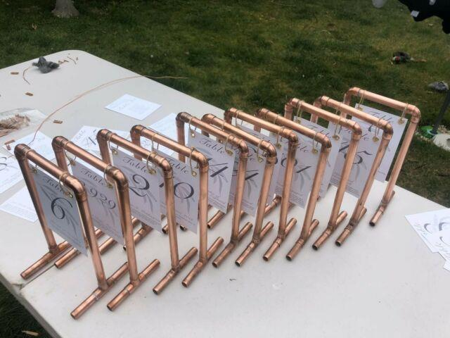 Copper Pipe Wedding Table Number Stands X11