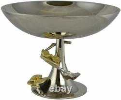 (D) Metal Fruit Bowl on Base Centerpiece for Table Silver 12x9'Orchid' Platter