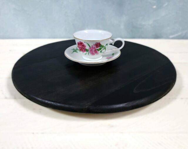 Ebony Lazy Susan Rotating Dining Table Centerpiece Round Pallet Turntable