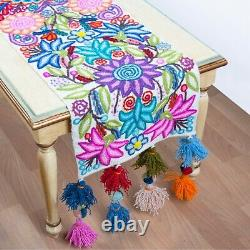Embroidered White table runner patterns, Peruvian Table center piece Handmade
