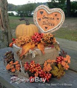 Fall Wedding, table centerpiece, handmade clay heart, beige, personalized