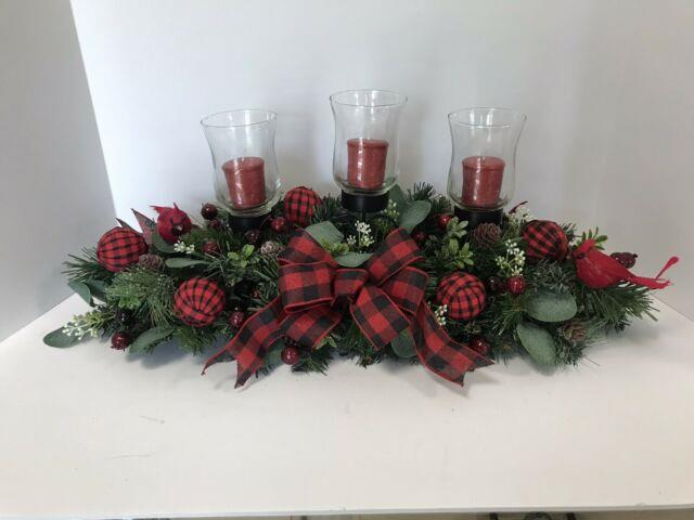 Farmhouse Christmas Winter Holiday Table Centerpiece, Candle Holder