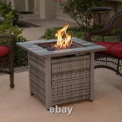 Fire Pit Table With Lid Centerpiece Protective Cover Propane Gas Outdoor Heat NEW