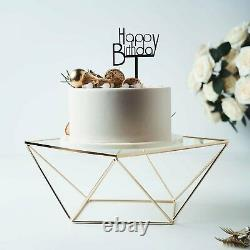 Geometric Cake Stand Metal Gold Cake Riser with Glass Top Table Centerpiece