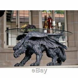 Glass-Topped Fierce Dragon Sculptural Coffee Centerpiece Hand Painted Table