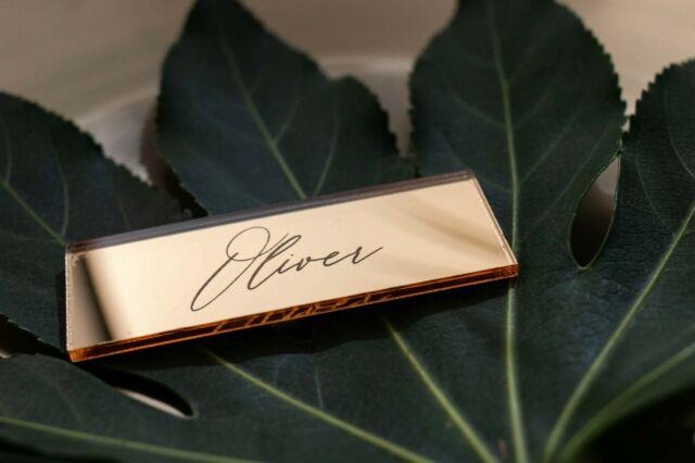 Gold Mirror Acrylic Table Names, Personalised Place Setting, Wedding Place Names