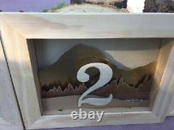 Handcrafted unique wedding/gala event shadowbox table numbers with fairy lights