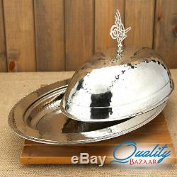 Handmade Hammered Copper Meat Serving Dish With Cover Table Centerpiece