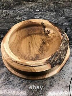 Handmade Turned Oak Live Edge Table Centerpiece Candy Dish serving tray