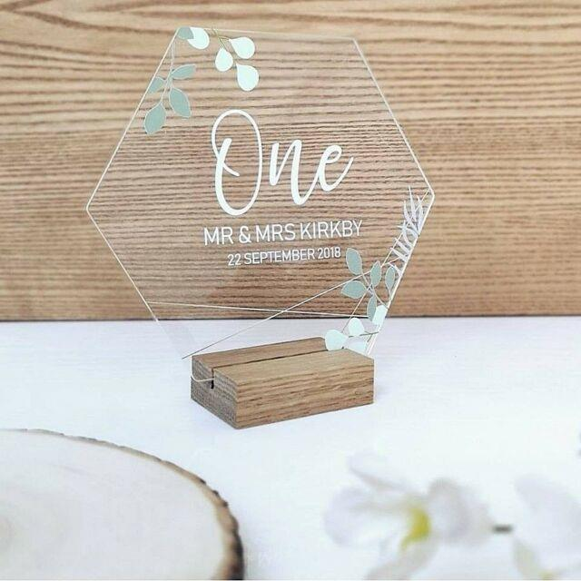 Hexagon Wedding Day Table Number Clear