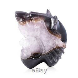 Home Table Decor Drusy Agate Carved Tiger Head Centerpiece Decoration Figurine
