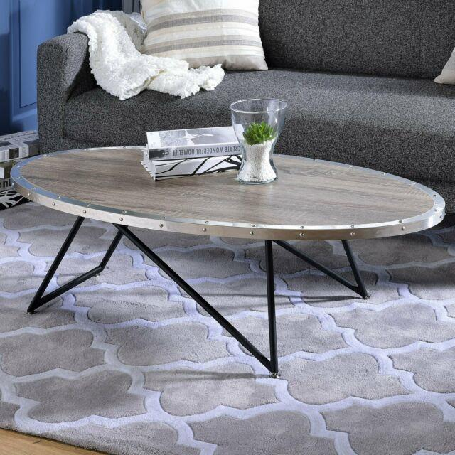 Industrial Oval Coffee Table Wooden Top Living Room Center Piece Display Stand
