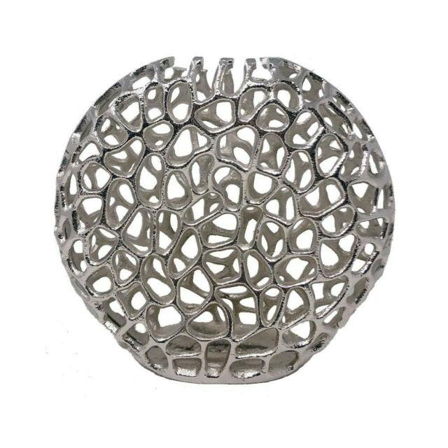 Jumbo Round Table Vase In Shiny Nickel Finished Home Decor Centerpieces