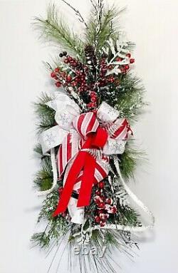 Large Christmas Evergreen Frosted Front Door Swag Wreath Table Centerpiece New