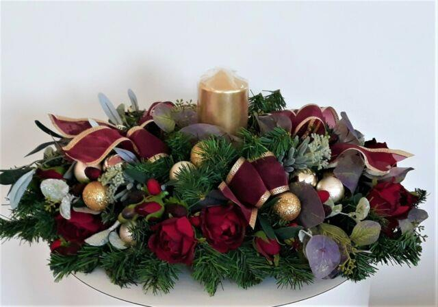 Large Christmas Centerpiece For Dining Table Burgundy And Gold