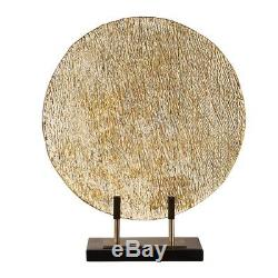 Large Gold Art Glass Table Top Charger Contemporary Decor Chic Centerpiece