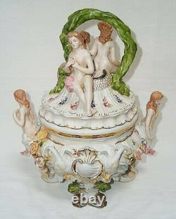 Large Porcelain Tureen, Table Centerpiece With Galatea And Swans, Attachment