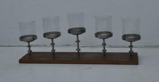 Large Table Top Candleholder Candlestick Centrepiece Reclaimed Wood & Iron