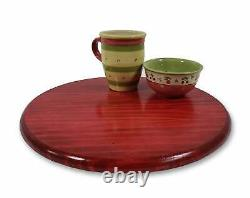 Lazy Susan Table Riser Distressed Deep Red Turntable Table Spinning Centerpiece