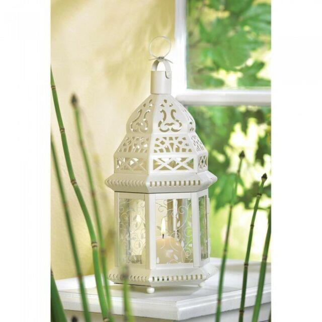 Lot Of 8 White Moroccan Style Candle Lantern Wedding Table Centerpieces Decor