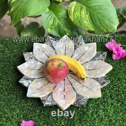 Lotus Pottery Serving Bowl Table Centerpiece Handmade Marble Inlay Fruit Bowl