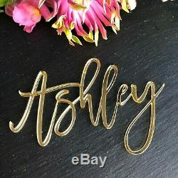 Luxury Gold Mirror Place Name, Gold mirror table name, Large Gold