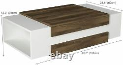 MAKENZA Nora Coffee Table Centerpieces for Dining Room (White-Walnut)