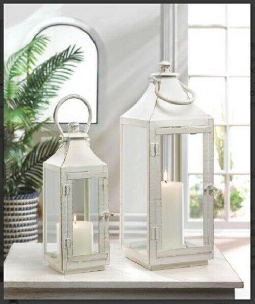 Metal Hurricane Candle Holder Dining Table Centerpiece Outdoor Distressed Shabby