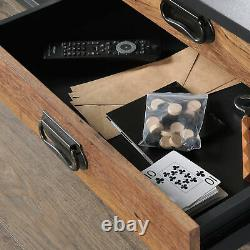 Mid-Century Modern Coffee Table 2-Drawer Living Room Centerpiece Furniture Black