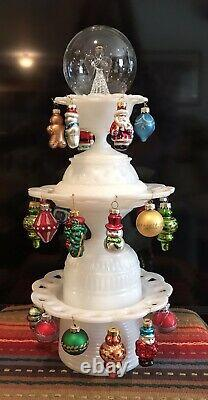 Milk Glass Hand Assembled Christmas Tree Center Piece Table Top Decoration