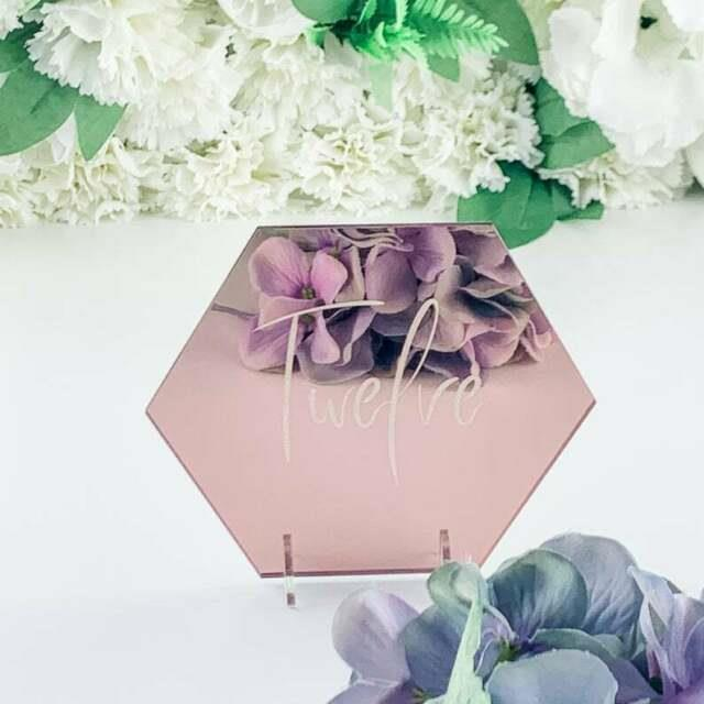 Mirror Hexagon Table Number, Rose Gold, Silver Or Gold Mirror Wedding Table Name