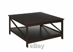 Modern Large Square Coffee Table Living Room Centerpiece with Bottom Shelf Storage