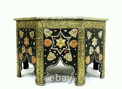Moroccan Coffee Table Center Piece Black Gold Authentic Home Decor Glass Top