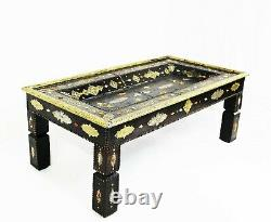 Moroccan Coffee Table Center Piece Black Leather Authentic Home Decor Glass Top